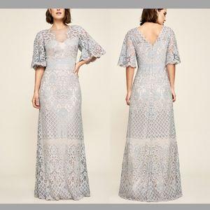 NEW Tadashi Shoji Malina Flutter Sleeve Lace Gown